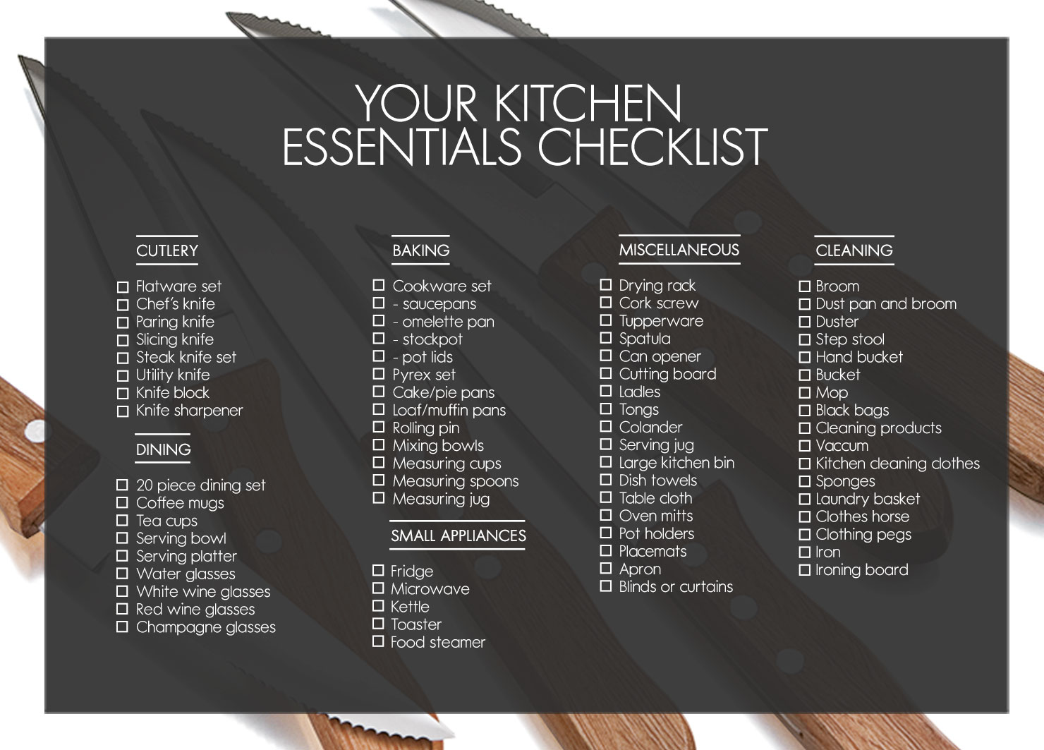 Kitchen essentials for Kitchen design checklist