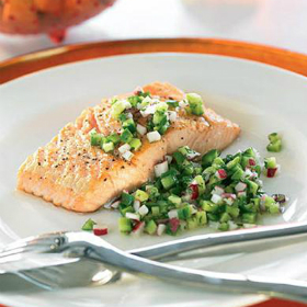 Pan-Seared Salmon With Plum-Cucumber Salad Recipes — Dishmaps