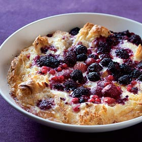 Croissant bread-and-butter pudding with mixed berries