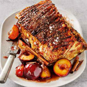 Crispy pork belly with a sticky spiced plum sauce ...