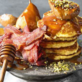 Ricotta hotcakes with maple pears, bacon and pistachios | Woolworths ...
