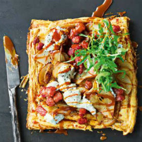 Salted caramel pear, pancetta and goat's cheese tart | Woolworths.co ...
