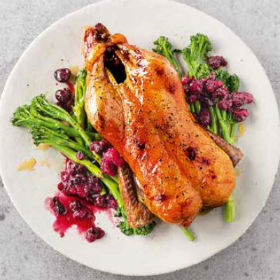 Honey roast duck with a mulled wine cherry sauce | Woolworths.co.za