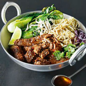 Maple and Ginger Beef with Noodles Recipe