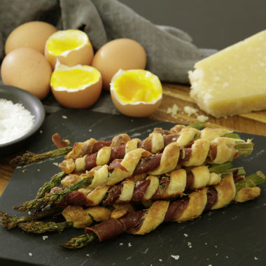 Soft boiled eggs with ham and pastry asparagus soldiers | Woolworths ...