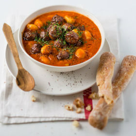 Tomato soup with meatballs and gnocchi | Woolworths.co.za