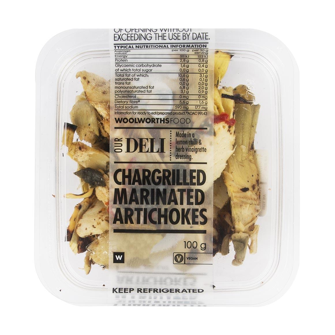 Chargrilled Marinated Artichokes 100g Woolworths Co Za
