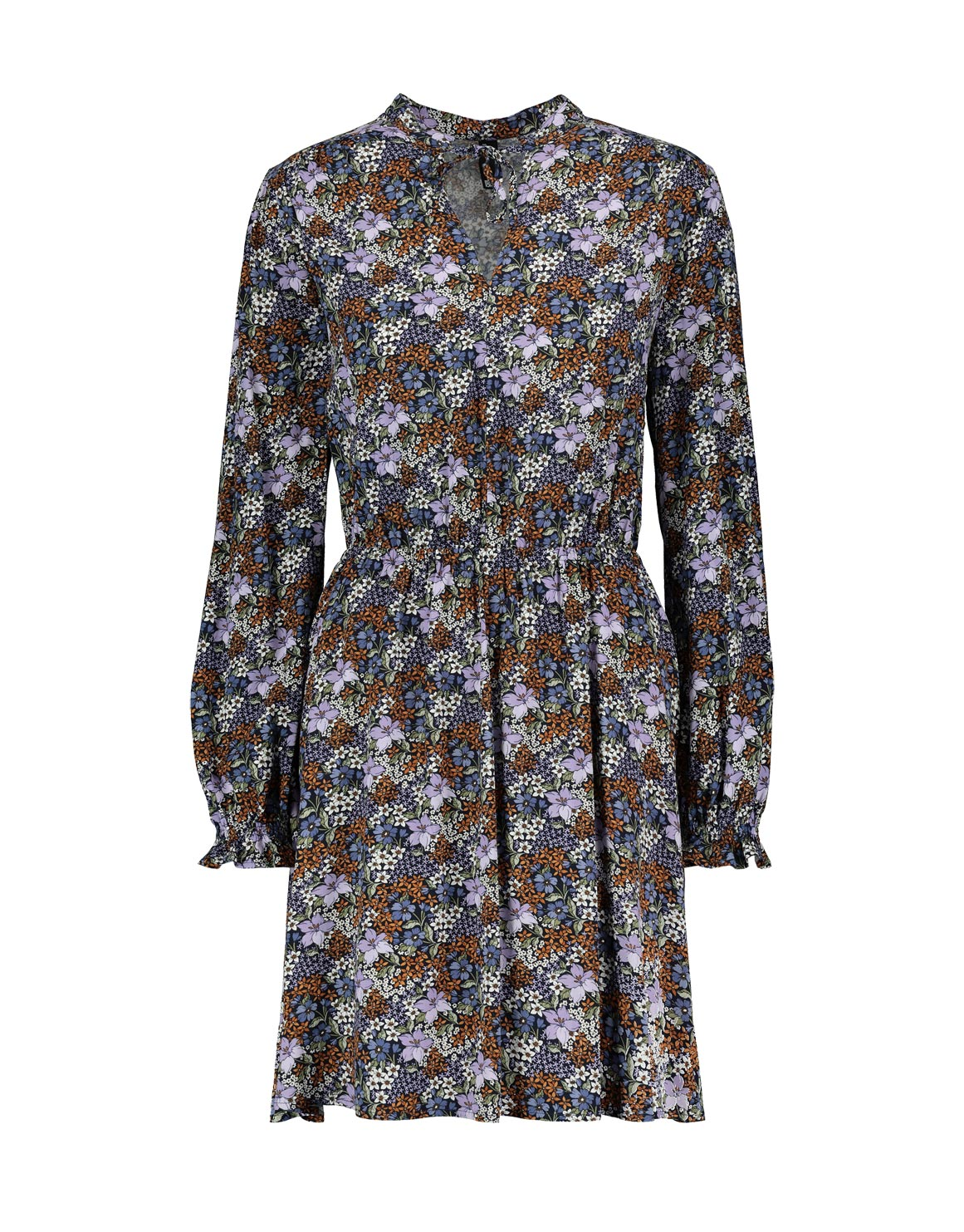 342d5fe1baf Print Tie Neck Viscose Midi Dress